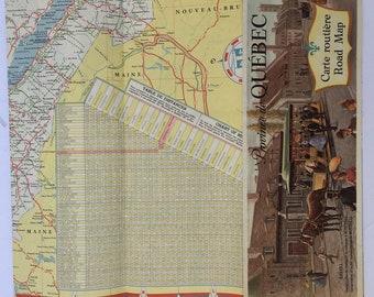 Vintage 1961 Canadian Quebec Tourist Bureau Historical Color Province Map