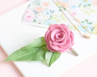 Pink flower hair clip for women | bridesmaids hair accessories | leafy hair clip
