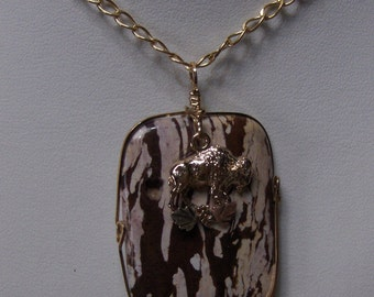 Handcrafted Wild Horse Jasper Pendant w/ Black Hills Gold Bison Accent // Wire Wrapped Jewelry