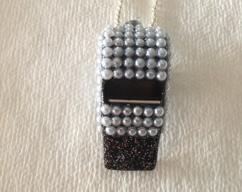 White (faux) Pearl Covered Whistle (3mm stones)