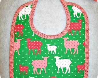 Organic Baby Bib - Sheep - Modern Whimsy - Green - Coral - Can be Personalized with a Name