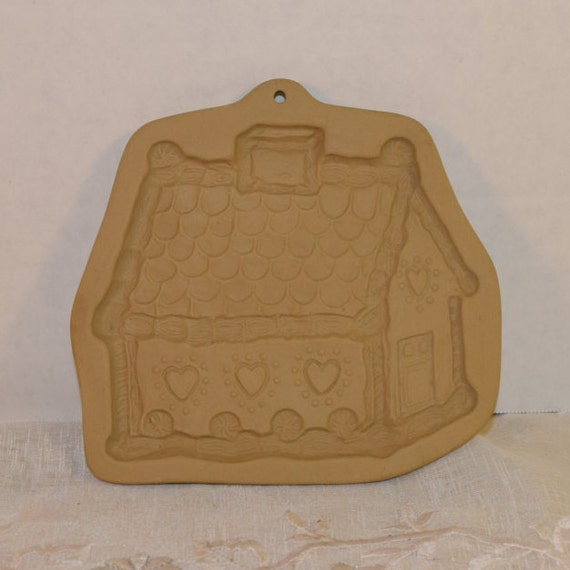 Brown Bag Cookie Art Gingerbread House Stamp Vintage Gingerbread Cookie Mold Bisque Clay Mold Date 1985 Shortbread Stamp Mold Decoration