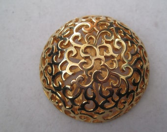 """Large 2 1/2"""" Art Nouveau gold filigree brooch pin 3 dimensional style"""