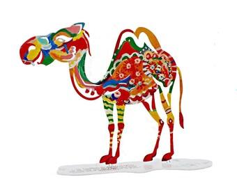 Camel sculpture, The Artistic Camel Metal Sculpture, Table Sculpture, Animal Art, Multicolored Metal Art Sculpture, Home decor, Camel