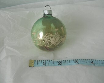 Vintage Mercury Glass Christmas Ornament Green with Sleigh and Winter Scene Stenciled Shiny Brite