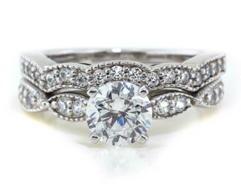 Twisted Moissanite Engagement Ring Diamond Band