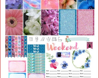 Watercolour Spring Printable Stickers for the Happy Planner