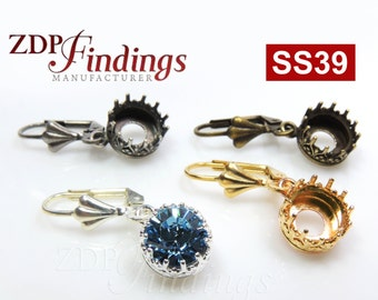 One Pair Round 8mm Quality Cast Bezel Crown Setting Leverback Dangle Earrings fit Swarovski 39ss Crystal, Choose Your Finish (EL139SSV)