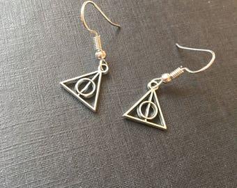 Deathly hallows drop earrings