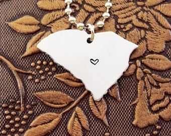 South Carolina Necklace, Personalized Jewelry, Hand Stamped Necklace, Long Distance Relationship, State Necklace, Map Necklace, Heart State