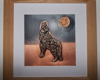 Copper Wolf painting geometric