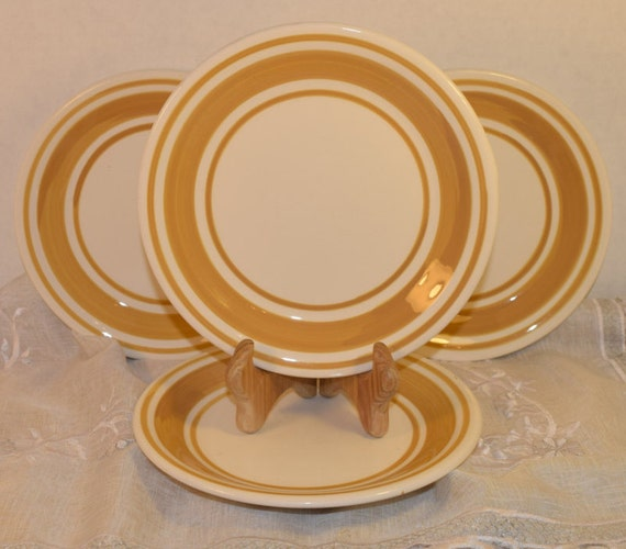 Keramos Italian Salad Plate Set of 4 Vintage Handmade in Italy Lunch Plates Yellow Trim Hostess Gift Housewarming Gift Wedding Gift