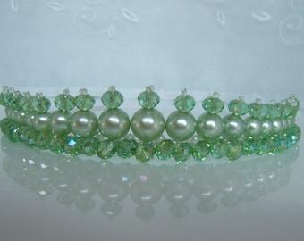 Green Crystal and Pearl Tiara