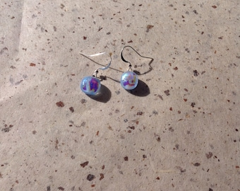 Fused dichroic glass earrings.  Jewelry. Stained glass. Dichroic glass.
