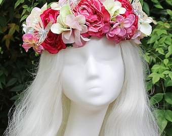 Pink Flower Crown, Butterfly, Flower Crown, Floral Crown, Headpiece, Fairy, Renaissance, Costume