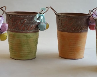 """Small Metal Vases Set """"PETITES FLEURS""""  from Summer 2017 collection"""