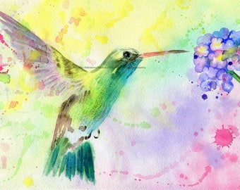 HUMMINGBIRD Watercolor Art Print, Hummingbird Painting, Watercolor Painting, Wall Art, Watercolor Print