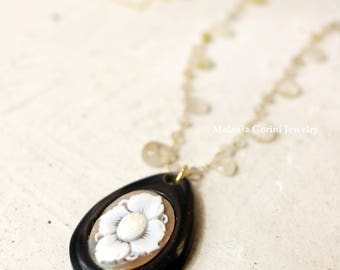 RUTY Necklace - 925 sterling silver electroplated with 18K gold, authentic Sardonyx shell cameo, rutilated natural quartz - flower cameo