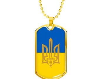 Ukrainian Jewelry Tryzub Necklace Pendant Jewelry - Stylized Tryzub And Ukrainian Flag - 18k Gold Finished Luxury Dog Tag Necklace, Trident