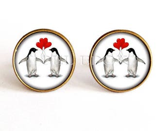 Penguins in love with red - jewelry for men, wedding cufflinks