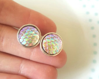Mermaid Iridescent Scale Stud Earrings, Pretty, Cute, Fantasy, Sea, Mermaid Lover, Mermaid Jewellery, Mermaid Studs