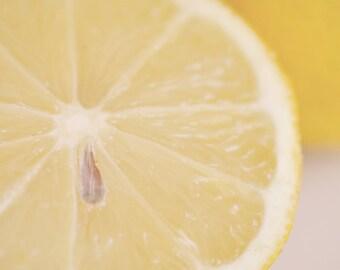 Lemon photograph, kitchen wall decor, fruit abstract art, citrus print, food wall art, yellow kitchen art print, dining room, lemon picture