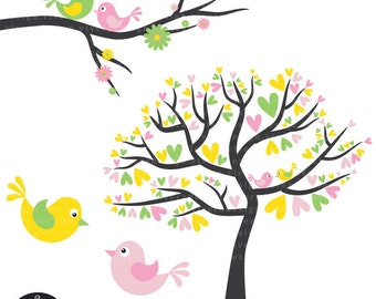 Love Birds in Easter Colors - Yellow, Green, and Pink - Digital Clip Art