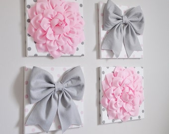 Bow and flower nursery wall art. Pink and grey girls room decor. Gift for girls baby shower.