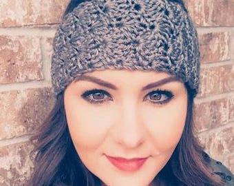 Soft & Cozy Hand Crochet Ear Warmer in Gray