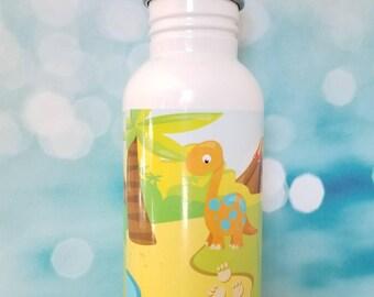 Dino scene bottle/stainless steel water bottle/ straw top/custom/full print/kids bottle/dinosaur/custom
