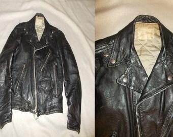 Black Leather MOTORCYCLE Vintage 1950's Men's Distressed BIKER Jacket S M