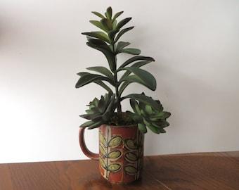Succulent Arrangement in Vintage Mug - Care Free Lifelike Natural Looking