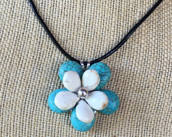 Handmade turquoise and white pendant made with turquoise and white howlite beads