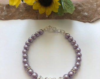 Happy Easter Lavender Pearl Bracelet- Ladies