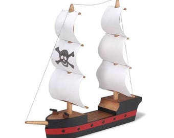 "4.25"" Wooden Pirate Ship Assembly Kit"