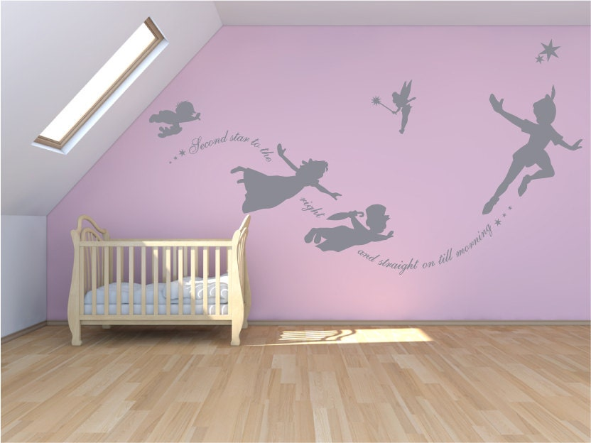 Peter Pan Wall decal second star to the right sticker custom