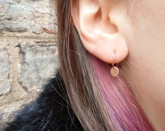 Small, dainty rose gold fill charm hoop earrings with hammered discs