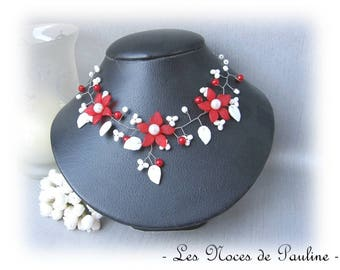 Red and white necklace with flowers Tatiana