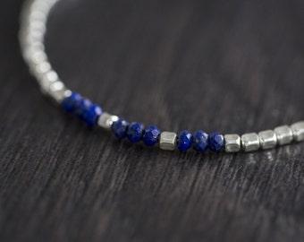 Lapis Lazuli Bracelet - Blue Gemstone Bracelet -Beaded Bracelet - Semi Precious Gemstone Jewellery - Dainty Stacking Bracelet - Gift For Her