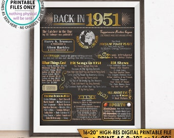 """1951 Flashback Poster, Flashback to 1951 USA History Back in 1951 67th Birthday Anniversary, Chalkboard Style PRINTABLE 16x20"""" Sign <ID>"""