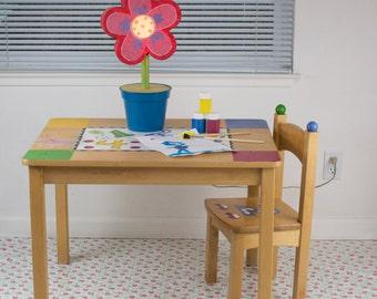 "Splat Mat/Tablecloth ""Petite Tea Cup Rose"" - Laminated Cotton BPA  & PVC Free - Choose Your Size below!"