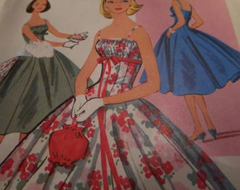 Vintage 1950's McCall's 3933 Evening Dress Sewing Pattern Size 12 Bust 32