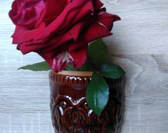 Brown Ceramic Vase,Vintage Wall Mounted,Ceramic Planter Pot, Great for Succulents/Flowers/Plants, Art Wall Gardening, Indoor Decoration
