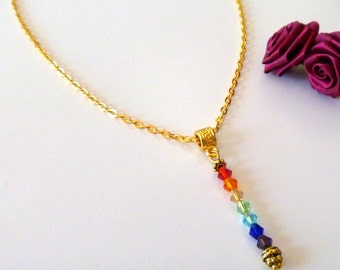 Handcrafted Gold  Crystal Beaded Chakra Necklace , Yoga Necklace, 7 Chakra Necklace