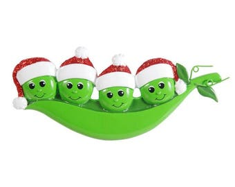 New Peapod Family Of 4 Personalized Christmas Ornament -  Family Peas in a Pod Ornament - Family Personalized Christmas Ornament