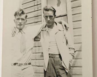 "Vintage Photo ""Alabama Brothers"" Snapshot Antique Black & White Photograph Paper Found Ephemera Vernacular Interior Design Mood - 40"