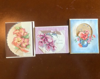 3 Assorted Vintage 1940s or 1950s Greeting Cards - NEVER USED ~ Get Well