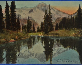 Mt Rainier Mirror Lake Washington Copyright 1913 Unused Postcard