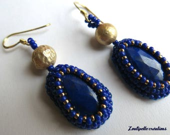 Embroidered stone lapis lazuli earrings