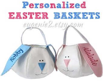 Personalized easter basket liners for girls or boys 5 colors personalized easter basket blue or pink easter bunny for boys or baby girls monogrammed with embroidered negle Images